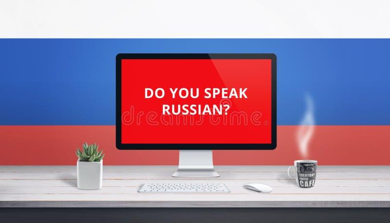 Η έννοια της μελέτης της ρωσικής γλώσσας on-line με την ερώτηση εσείς μιλά τα ρωσικά στην επίδειξη υπολογιστών στοκ εικόνα