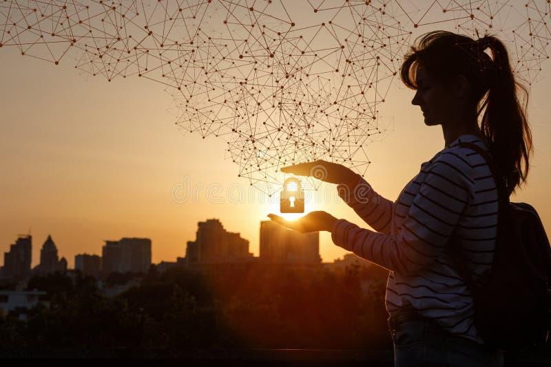 Η έννοια της προστασίας του αστικού δικτύου στοκ φωτογραφία