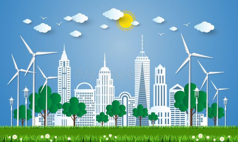 Η έννοια της πόλης πηγαίνει πράσινη, πράσινη έννοια πόλεων διάνυσμα ελεύθερη απεικόνιση δικαιώματος