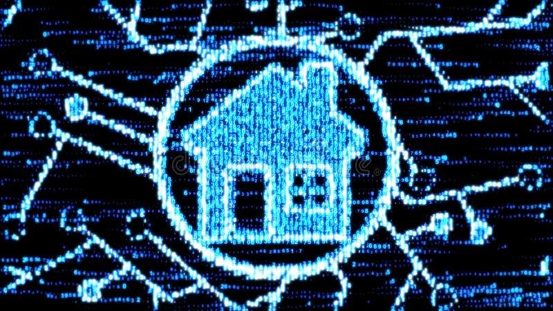 Η έννοια του έξυπνου σπιτιού Σπίτι του κώδικα υπολογιστών ελεύθερη απεικόνιση δικαιώματος