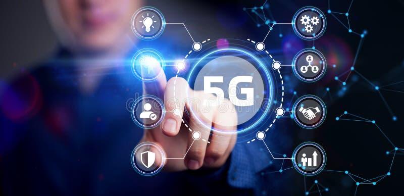 Η έννοια του δικτύου 5G, του κινητής τηλεφωνίας υψηλής ταχύτητας, των δικτύων νέας γενιάς Επιχειρήσεις, σύγχρονη τεχνολογία, Διαδ στοκ φωτογραφίες