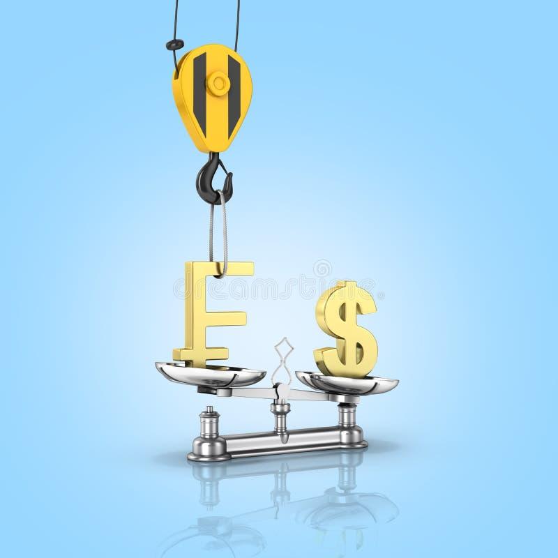 Η έννοια του δολαρίου υποστήριξης συναλλαγματικής ισοτιμίας εναντίον του ευρώ ο γερανός τραβά ελβετικό ειλικρινή τον επάνω και χα ελεύθερη απεικόνιση δικαιώματος