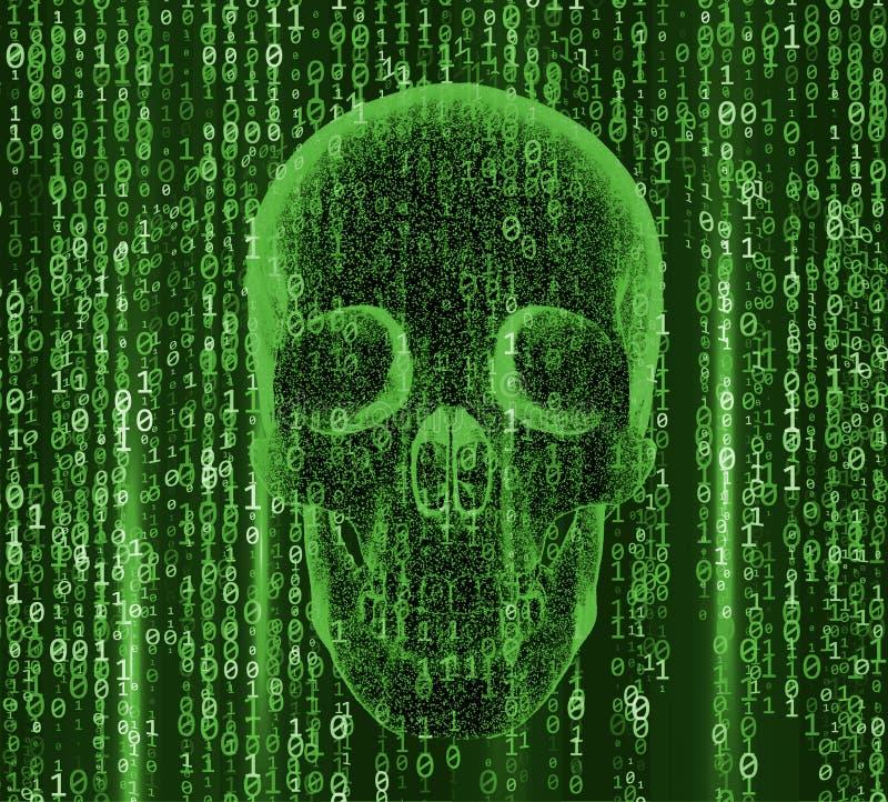 Η έννοια του εγκλήματος cyber, της πειρατείας Διαδικτύου και της χάραξης, μορφή του κρανίου συνδύασε με το δυαδικό κώδικα τρισδιά ελεύθερη απεικόνιση δικαιώματος