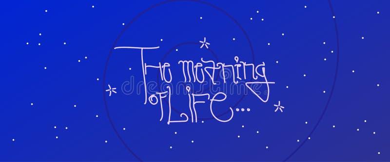 Η έννοια του καλλιγραφικού διανυσματικού σχεδίου ζωής στο μπλε υπόβαθρο κόσμου απεικόνιση αποθεμάτων