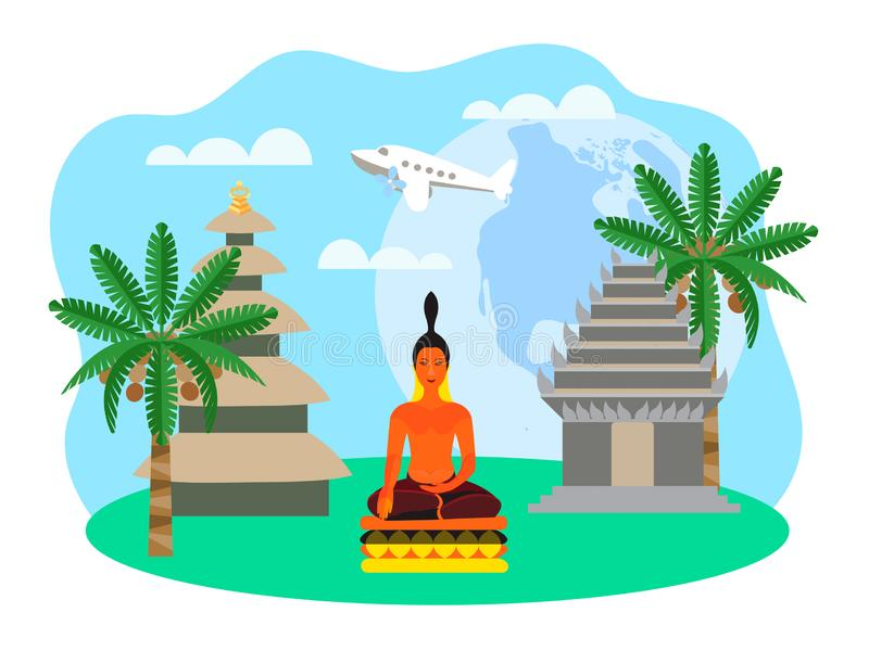 Η έννοια του ταξιδιού μέσω της παγκόσμιας Πολεμικής Αεροπορίας, της αρχιτεκτονικής και του θρησκευτικού τελωνείου διανυσματική απεικόνιση