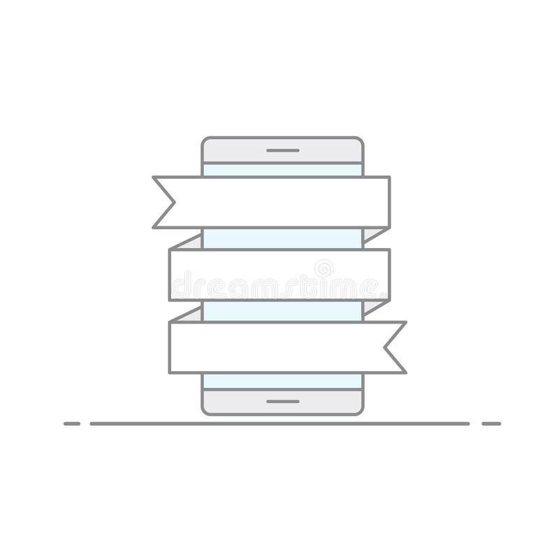 Η έννοια των εικόνων διαφήμισης με οι σημαίες για την ταχυδρόμηση των πληροφοριών για ένα κινητό τηλεφωνικό υπόβαθρο διάνυσμα ελεύθερη απεικόνιση δικαιώματος