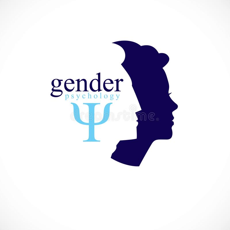 Η έννοια ψυχολογίας γένους δημιούργησε με τα σχεδιαγράμματα κεφαλιών ανδρών και γυναικών, το διανυσματικό λογότυπο ή το σύμβολο τ ελεύθερη απεικόνιση δικαιώματος