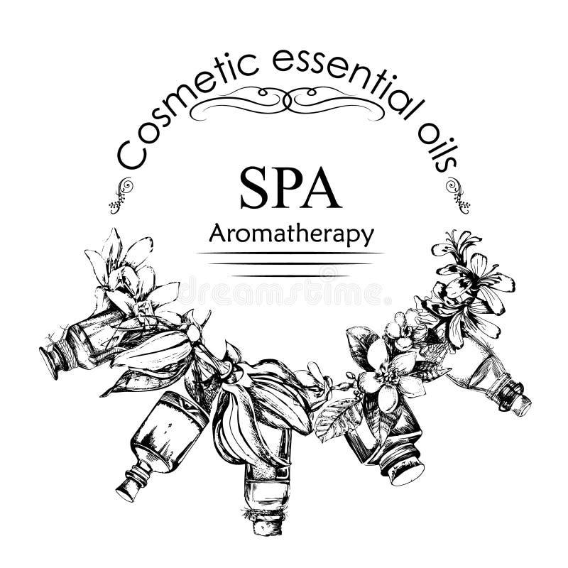 Η έννοια aromatherapy και του μασάζ Ύφος του χεριού που σύρεται απεικόνιση αποθεμάτων