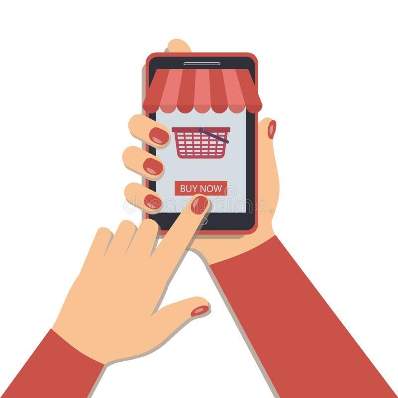 Η έννοια on-line να ψωνίσει χρησιμοποιώντας ένα κινητό τηλέφωνο διανυσματική απεικόνιση