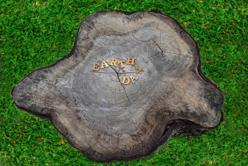 Η λέξη γήινης ημέρας στο υπόβαθρο κούτσουρων, βοήθεια προστατεύει την ιδέα δέντρων μας στοκ εικόνα