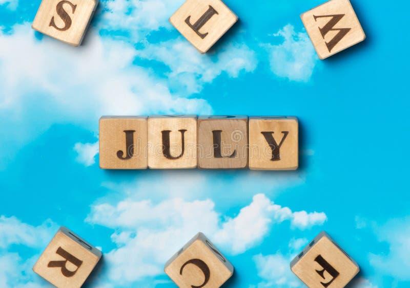 Η λέξη Ιούλιος στοκ φωτογραφίες