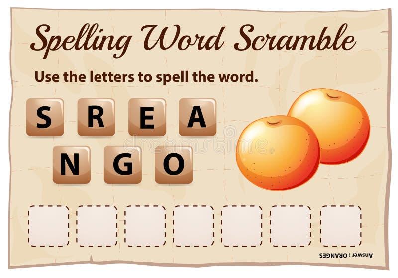 Η λέξη ορθογραφίας ανακατώνει το παιχνίδι με τα πορτοκάλια λέξης απεικόνιση αποθεμάτων