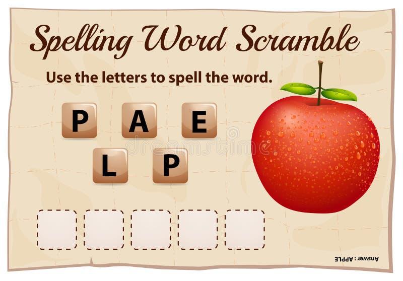 Η λέξη ορθογραφίας ανακατώνει το παιχνίδι με το μήλο λέξης ελεύθερη απεικόνιση δικαιώματος