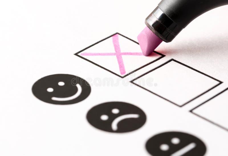 Η έρευνα εμπειρίας, υπάλληλος ανατροφοδοτεί το ερωτηματολόγιο ή την έννοια επιχειρησιακής ψηφοφορίας στοκ φωτογραφία με δικαίωμα ελεύθερης χρήσης