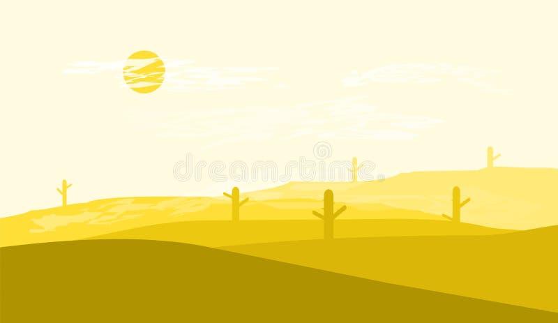 Η έρημος του επίπεδου έργου τέχνης σχεδίου τοπίων στοκ φωτογραφία με δικαίωμα ελεύθερης χρήσης