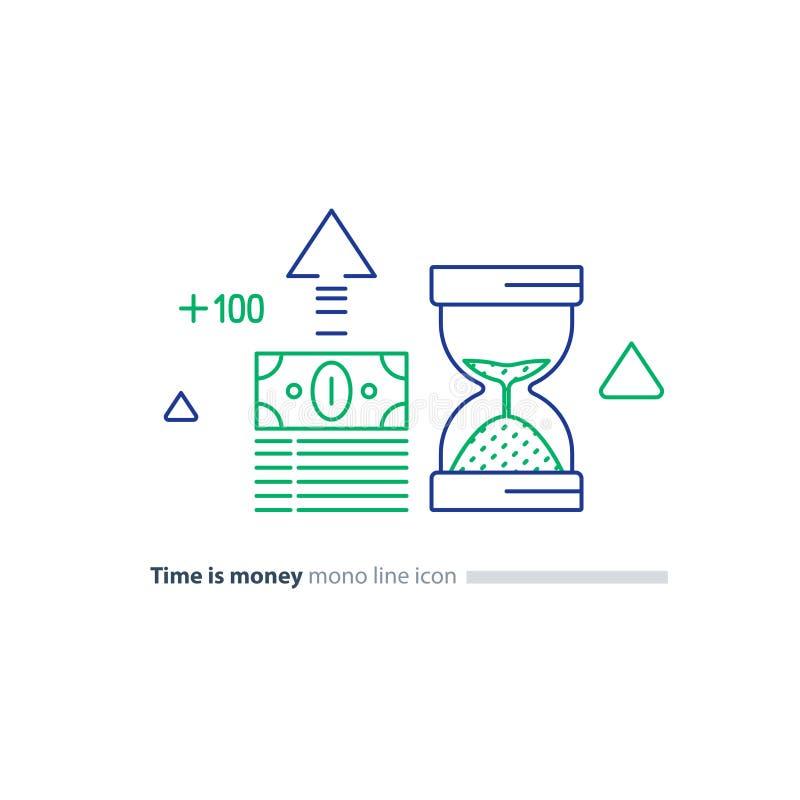 Η δέσμη μετρητών και το γυαλί άμμου, χρόνος είναι έννοια χρημάτων, οικονομικά εικονίδια γραμμών επένδυσης ελεύθερη απεικόνιση δικαιώματος