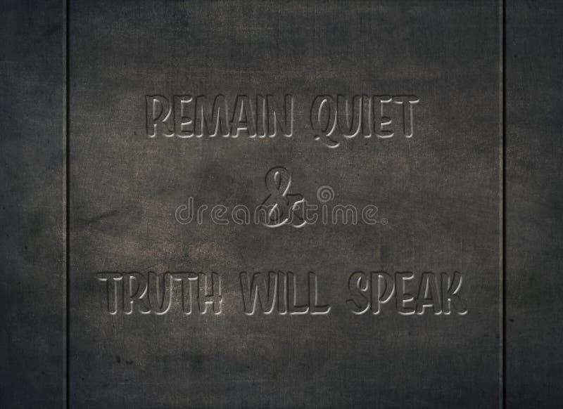 Η ήρεμη σιωπηλή αλήθεια μιλά μαθαίνει τον τύπο τυπογραφίας στοκ φωτογραφία