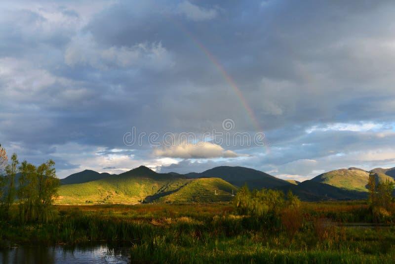 Η λίμνη lugu του ουρανού στη γη στοκ εικόνες
