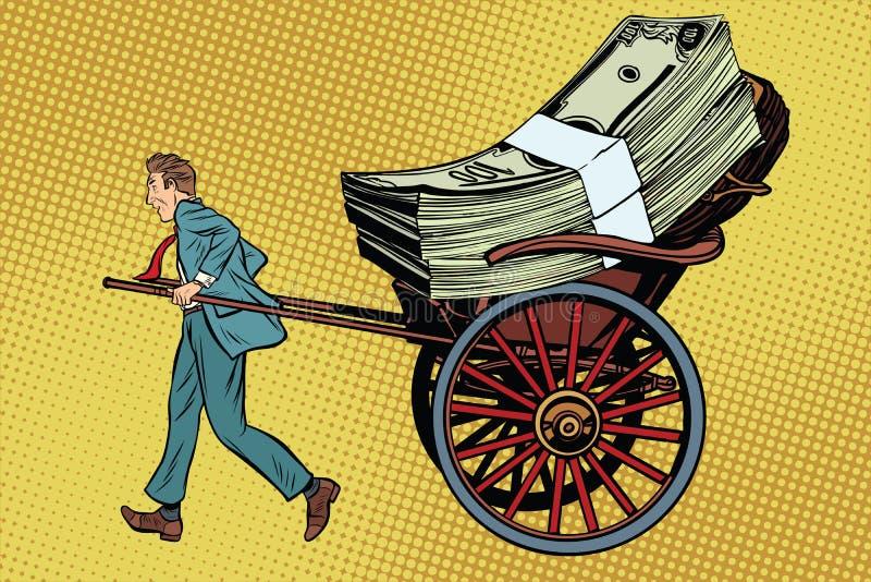 Η δίτροχος χειράμαξα επιχειρηματιών μετέφερε τα χρήματα ελεύθερη απεικόνιση δικαιώματος