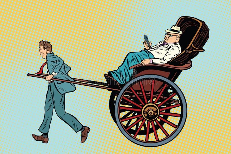 Η δίτροχος χειράμαξα επιχειρηματιών φέρνει έναν πλούσιο πελάτη απεικόνιση αποθεμάτων