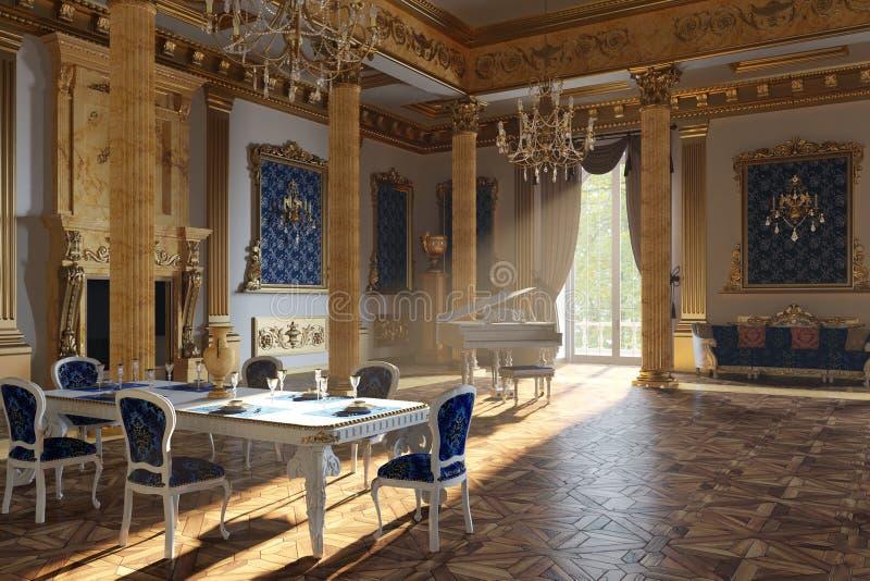 Η αίθουσα χορού και το εστιατόριο στο κλασικό ύφος τρισδιάστατος δώστε στοκ εικόνα