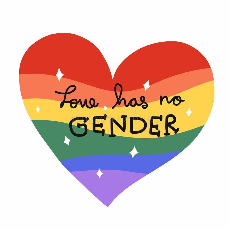 Η αγάπη δεν έχει κανένα γένος, σπινθήρισμα καρδιών ουράνιων τόξων για την απεικόνιση LGBT ελεύθερη απεικόνιση δικαιώματος