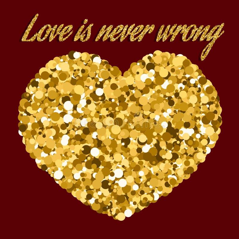 Η αγάπη δεν είναι ποτέ λανθασμένη εμπνευσμένη διανυσματική εικόνα χεριών αποσπάσματος, διανυσματική εικονογράφηση με την επιγραφή διανυσματική απεικόνιση