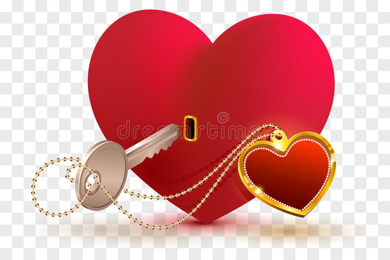 Η αγάπη είναι βασική στην καρδιά αγαπημένου σας Κόκκινα κλειδαριά και κλειδί μορφής καρδιών ελεύθερη απεικόνιση δικαιώματος