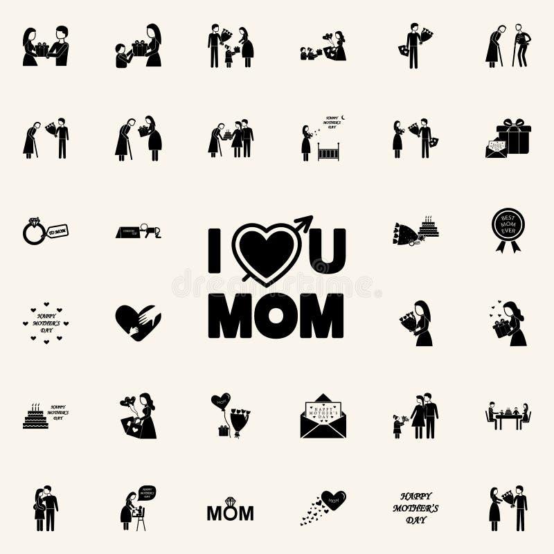 η αγάπη επιγραφής εσείς παράγει το εικονίδιο Καθολικό εικονιδίων ημέρας μητέρων \ «s που τίθεται για τον Ιστό και κινητό ελεύθερη απεικόνιση δικαιώματος