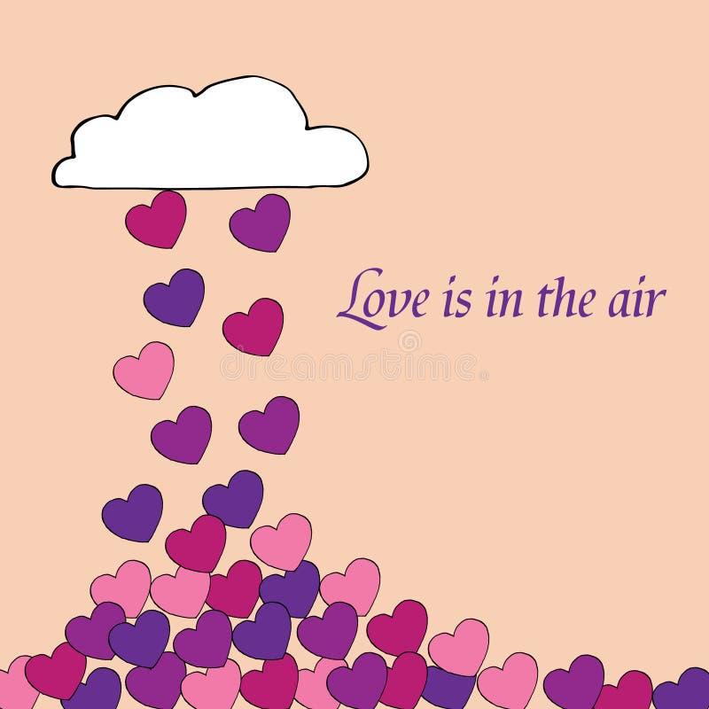 Η αγάπη ευχετήριων καρτών είναι στον αέρα, ρομαντικό, με πολλές καρδιές που πέφτοντας από το σύννεφο ελεύθερη απεικόνιση δικαιώματος