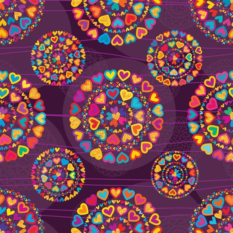 Η αγάπη ζωηρόχρωμη ακτινοβολεί πορφυρό άνευ ραφής patterm συμμετρίας ελεύθερη απεικόνιση δικαιώματος