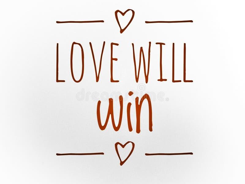 Η αγάπη θα κερδίσει το απόσπασμα με το εικονίδιο καρδιών στοκ φωτογραφία με δικαίωμα ελεύθερης χρήσης
