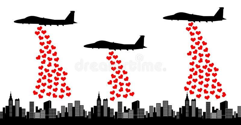 η αγάπη κάνει όχι τον πόλεμο διανυσματική απεικόνιση