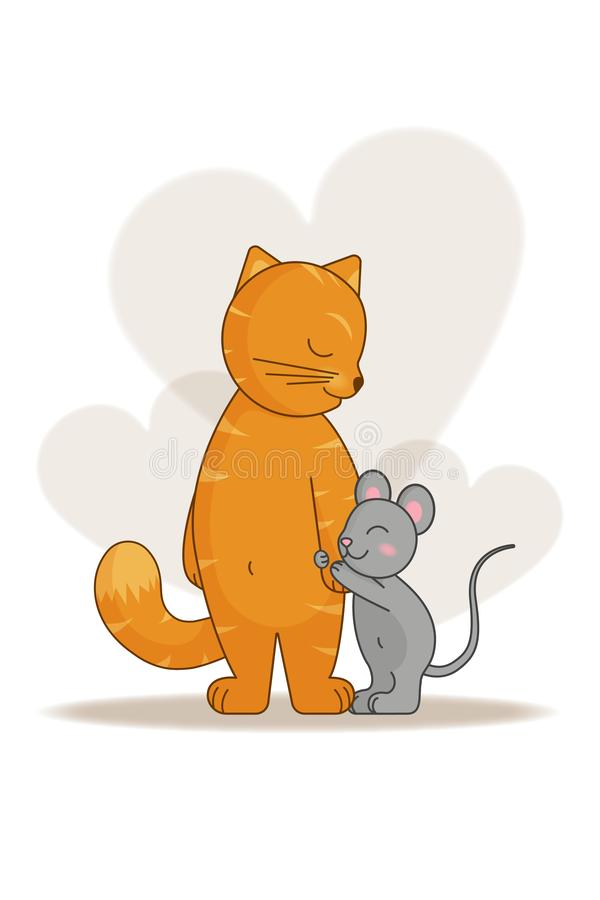 Η αγάπη και η φιλία της γάτας και του ποντικιού απεικόνιση αποθεμάτων