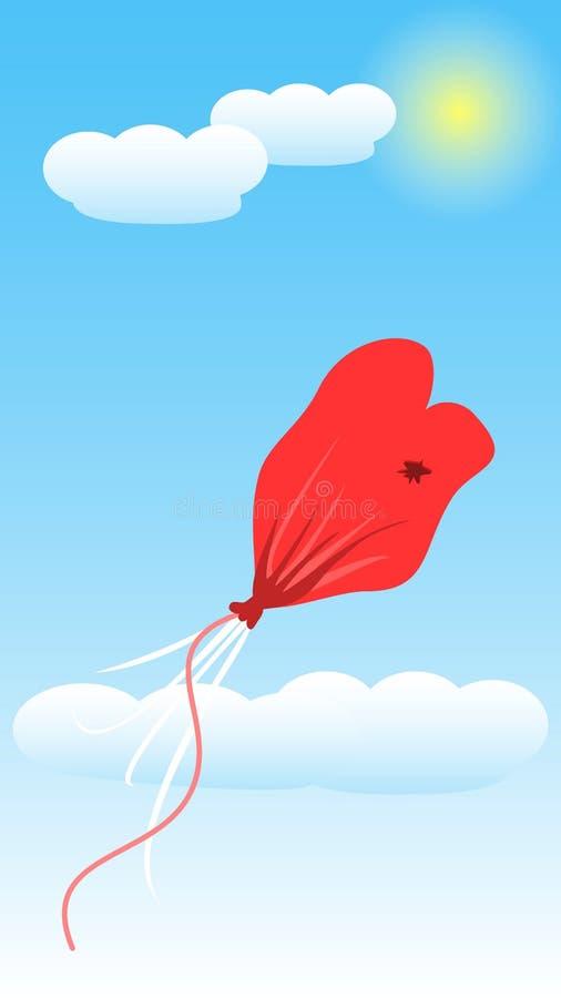 Η αγάπη μπαλονιών ξεφουσκώνει Διάνυσμα απεικόνισης τέχνης απεικόνιση αποθεμάτων