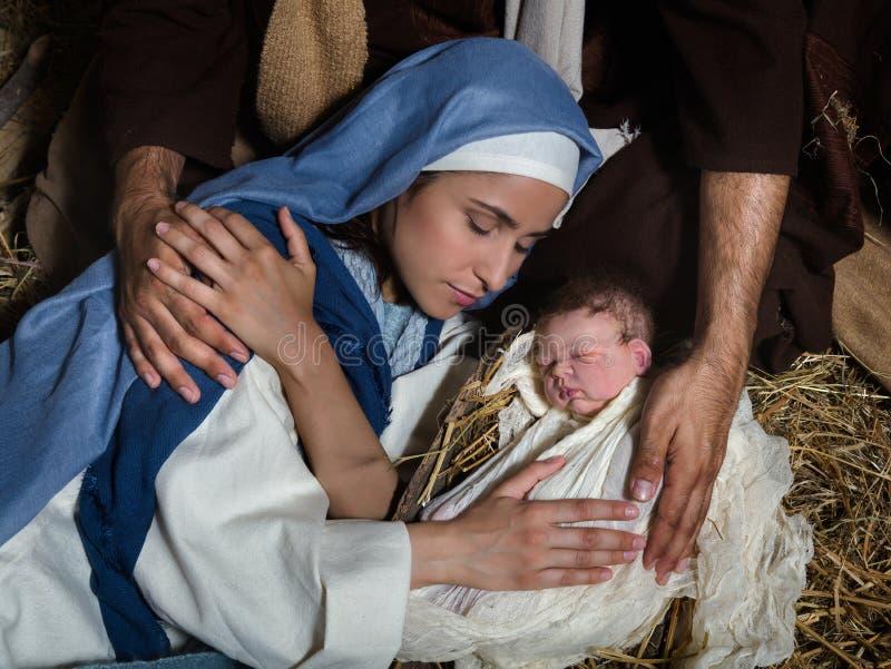 Η αγάπη παραδίδει τη σκηνή nativity στοκ εικόνα