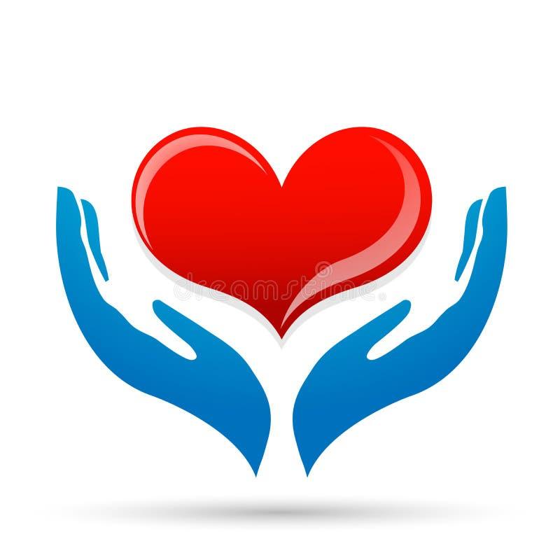 Η αγάπη προσοχής καρδιών προστατεύει εκτός από το χέρι οίκτου που παίρνει το διανυσματικό λογότυπο στοιχείων εικονιδίων καρδιών δ απεικόνιση αποθεμάτων