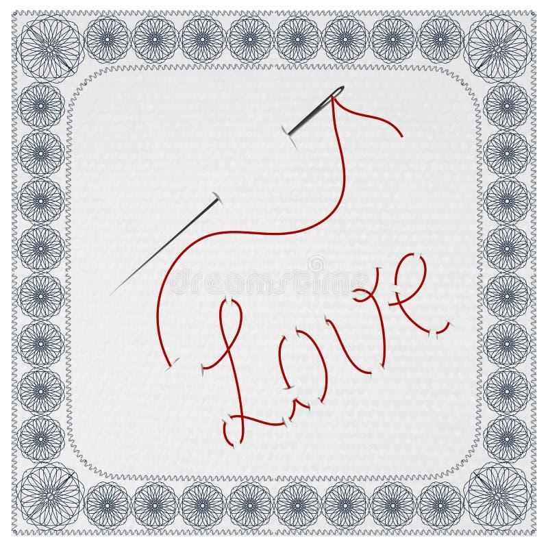 Η αγάπη του Word, που κεντιέται με μια βελόνα και ένα νήμα επίσης corel σύρετε το διάνυσμα απεικόνισης διανυσματική απεικόνιση
