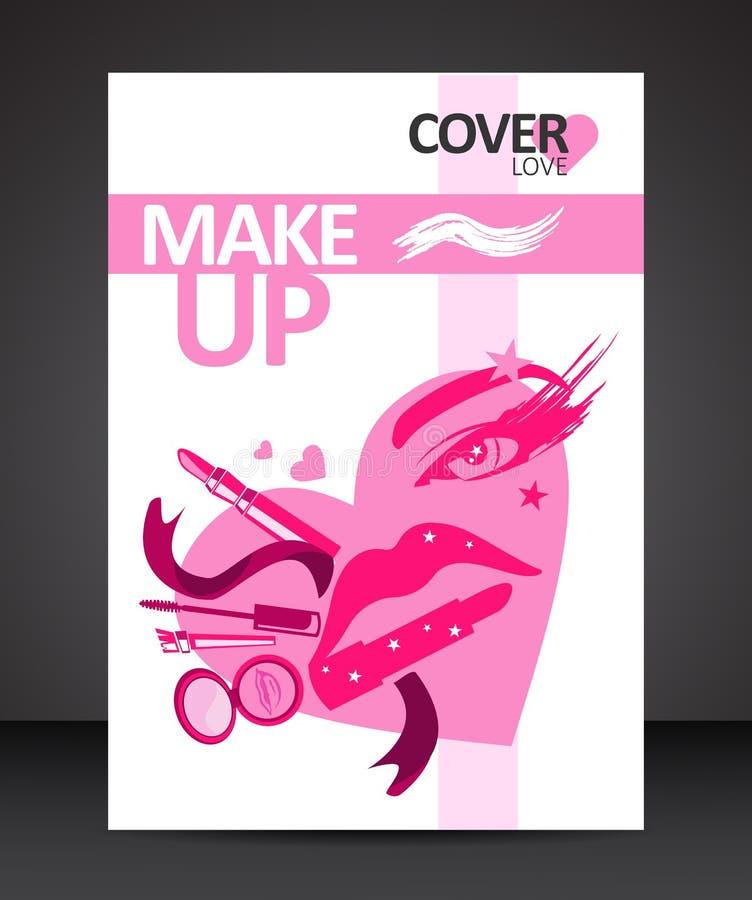 Η αγάπη makeup καλύπτει το πρότυπο σχεδίου με μορφή προσώπου κοριτσιών ελεύθερη απεικόνιση δικαιώματος