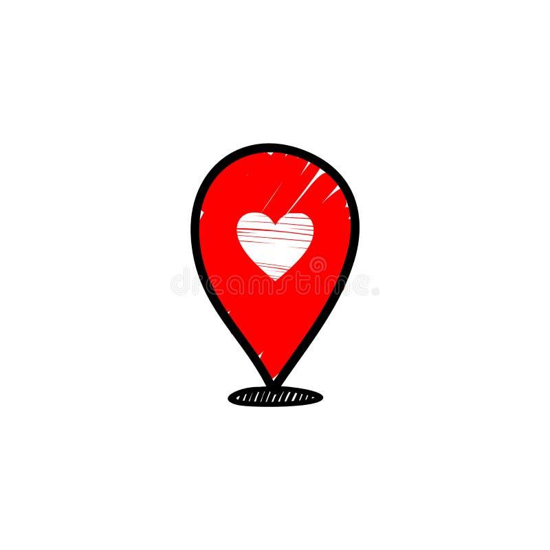 Η αγαπημένη κόκκινη θέση τραγουδά Διανυσματική καρφίτσα με την καρδιά στοκ φωτογραφία με δικαίωμα ελεύθερης χρήσης