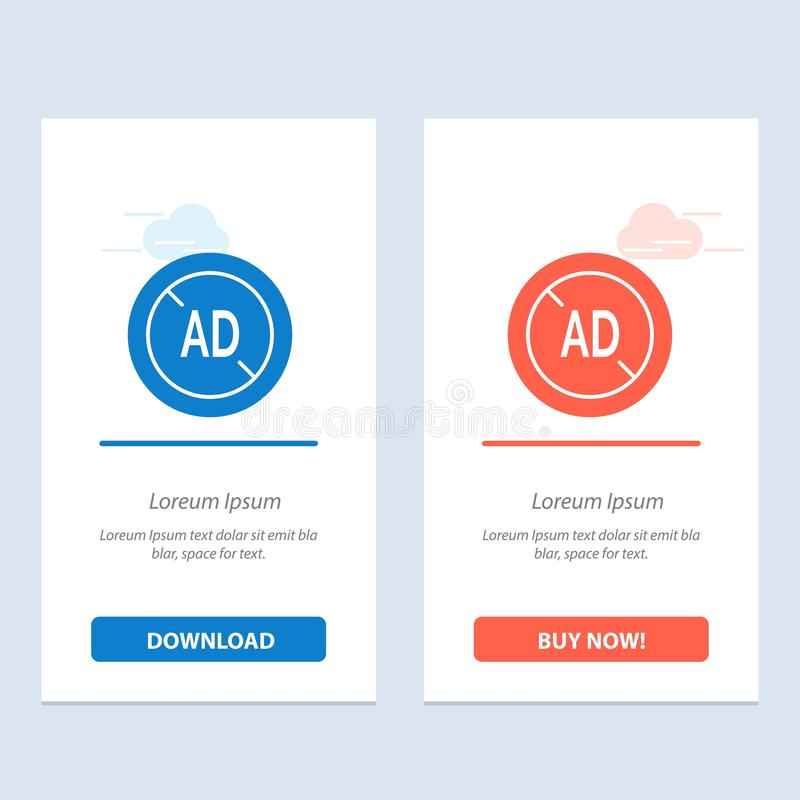 Η αγγελία, Blocker, Blocker αγγελιών, ψηφιακοί μπλε και το κόκκινο μεταφορτώνουν και αγοράζουν τώρα το πρότυπο καρτών Widget Ιστο ελεύθερη απεικόνιση δικαιώματος