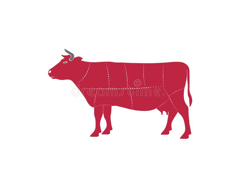 Η αγελάδα τεμαχίζει το βόειο κρέας bucher περικοπών για το διάνυσμα απεικόνισης σχεδίου λογότυπων ελεύθερη απεικόνιση δικαιώματος