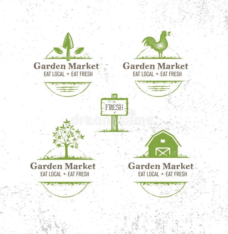 Η αγορά κήπων τρώει τα τοπικά αγροτικά φρέσκα τρόφιμα Οργανικό διανυσματικό στοιχείο σχεδίου στο τραχύ υπόβαθρο σύστασης ελεύθερη απεικόνιση δικαιώματος