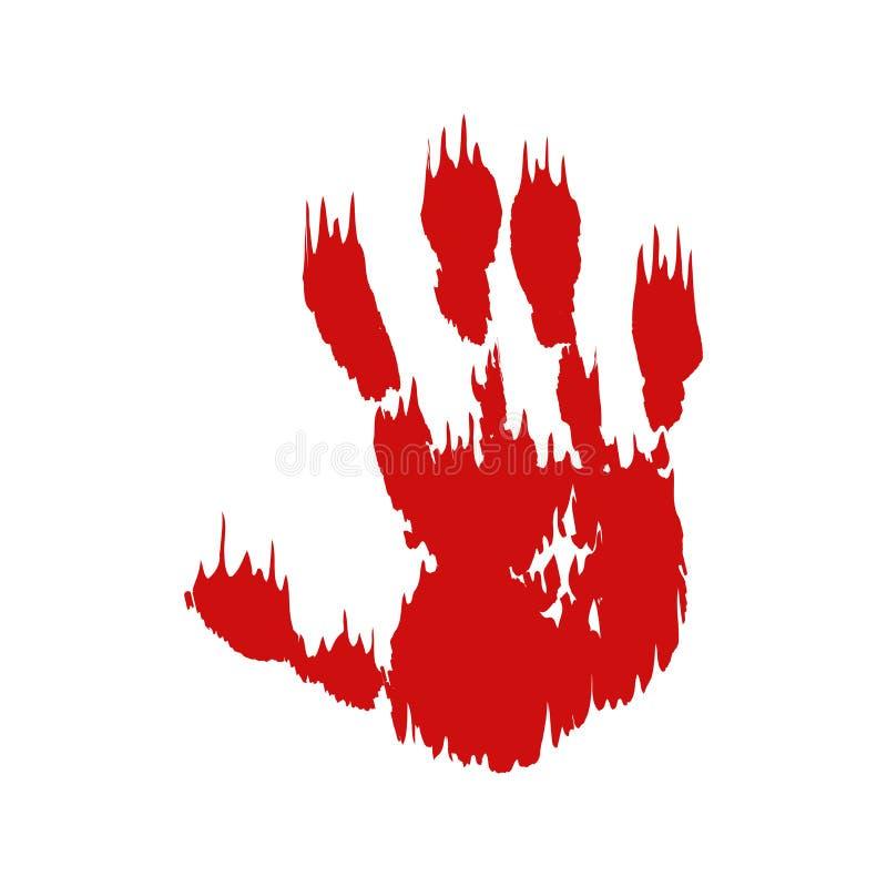 Η αιματηρή τυπωμένη ύλη χεριών απομόνωσε το άσπρο υπόβαθρο Βρώμικο handprint τρομακτικού αίματος φρίκης, δακτυλικό αποτύπωμα Κόκκ απεικόνιση αποθεμάτων