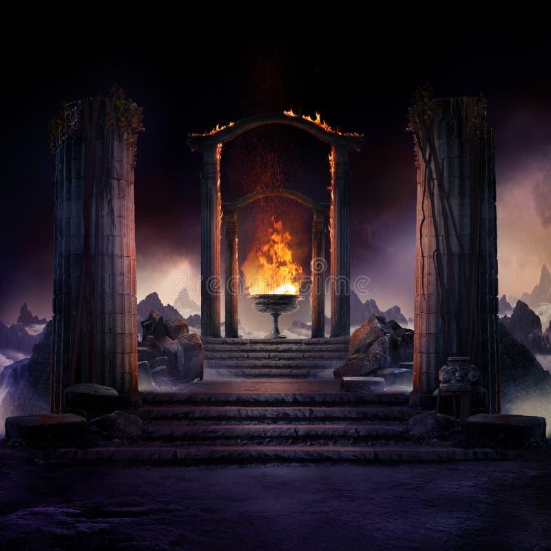 Η αιώνια πυρκαγιά, το σκοτεινό ατμοσφαιρικό τοπίο με σκάλες σε αρχαίες στήλες και γραμματοσειρά της φωτιάς στοκ φωτογραφίες