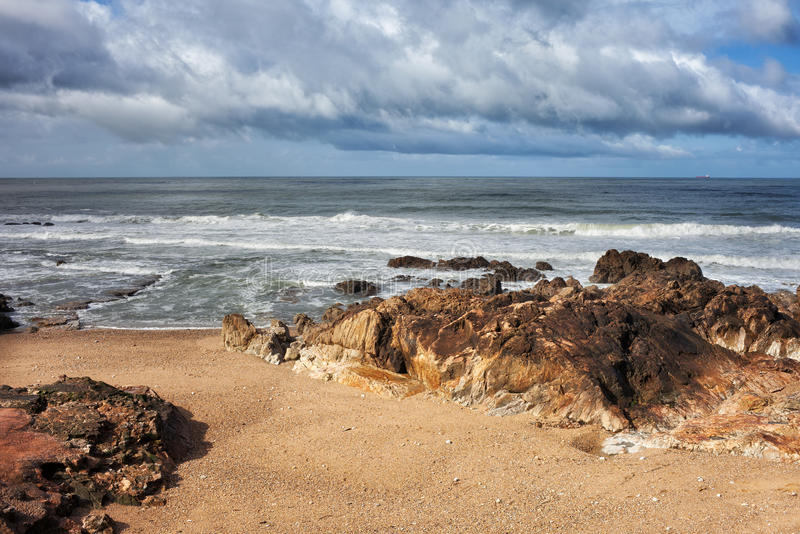 Η ακτή του Ατλαντικού Ωκεανού Foz κάνει Douro στο Πόρτο στοκ φωτογραφία με δικαίωμα ελεύθερης χρήσης