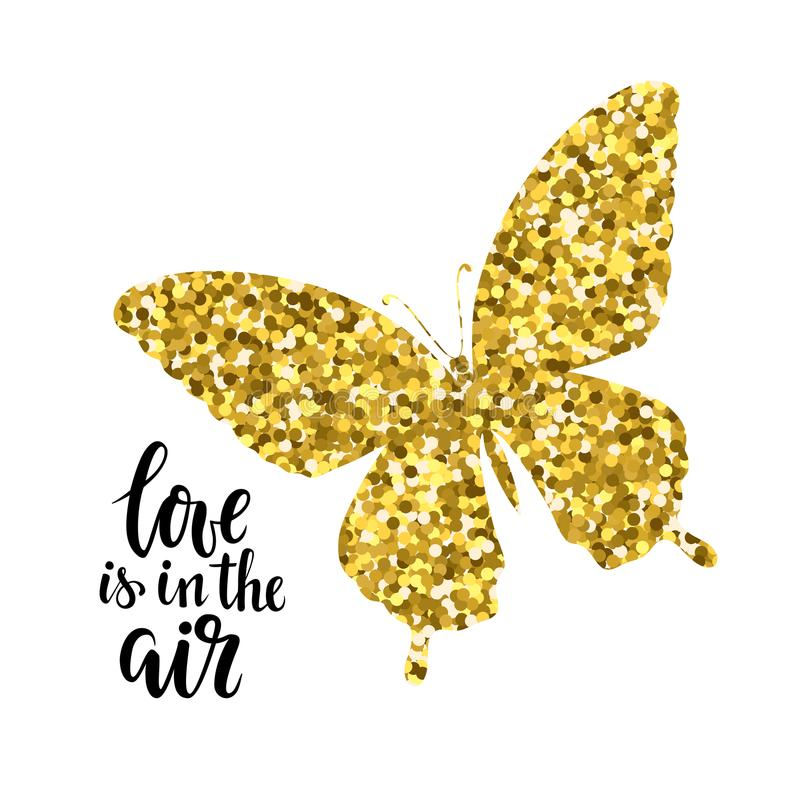 Η ακτινοβολώντας πεταλούδα με την αγάπη κειμένων είναι στο συρμένο σχέδιο εγγραφής μανδρών καλλιγραφίας και βουρτσών αέρα χέρι γι ελεύθερη απεικόνιση δικαιώματος
