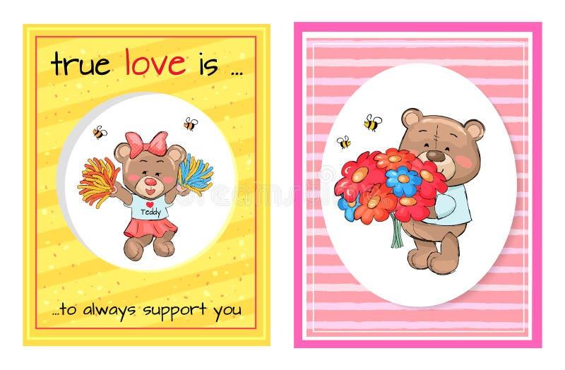 Η αληθινή αγάπη υποστηρίζει πάντα την ανθοδέσμη μαζορετών Teddy ελεύθερη απεικόνιση δικαιώματος