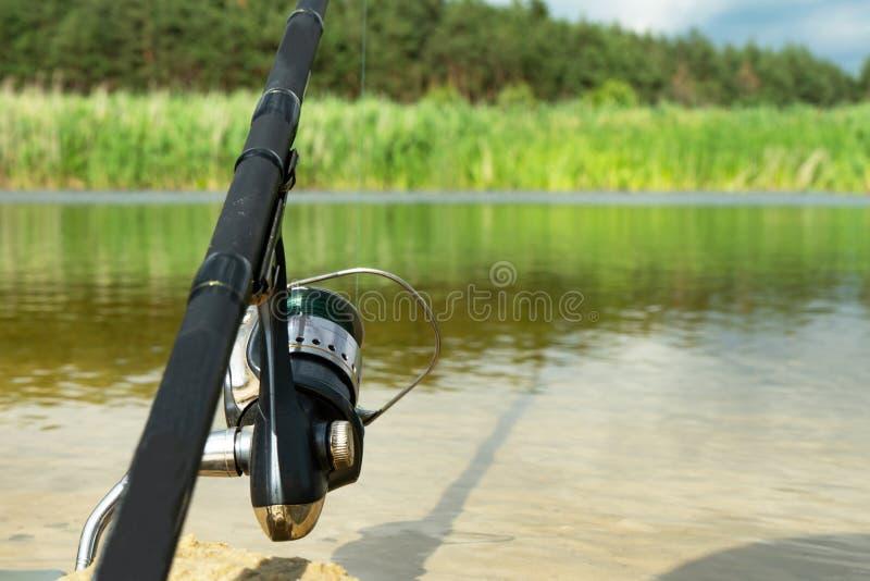Η αλιεία περιστροφής είναι μια συναρπαστική δραστηριότητα Αθλητική αλιεία διάστημα αντιγράφων στοκ φωτογραφίες με δικαίωμα ελεύθερης χρήσης