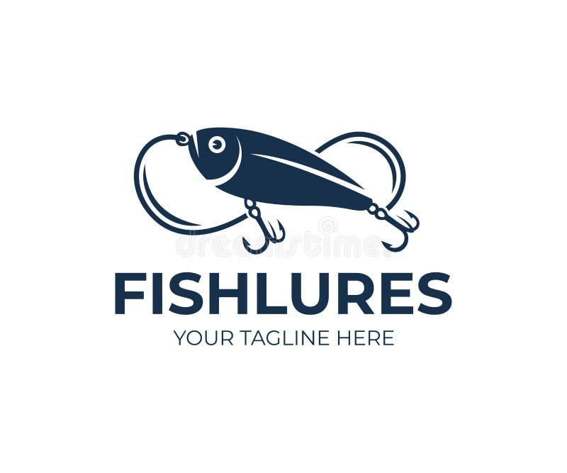 Η αλιεία των θελγήτρων και των ψαριών δελεάζει, ψάρια, γραμμή αλιείας και γάντζοι, σχέδιο λογότυπων Ζώο, άγρια φύση και αλιεία στ ελεύθερη απεικόνιση δικαιώματος